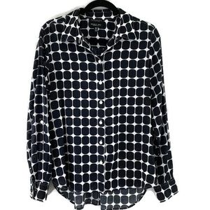 Foxcroft blouse wrinkle free black & white sz 12